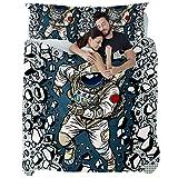 TIZORAX - Juego de funda de edredón y 1 funda de almohada, color gris oscuro cálido y hermoso cómodo astronauta rompiendo la pared, Material de fibra química., Multicolor, Double quilt(79 x 79) + 2 pillowcases(20 x 30)inch