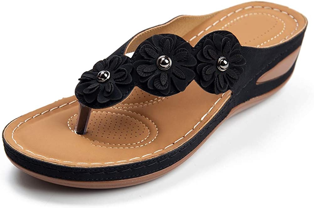 Casual Wedge Sandals for Women Translated Comfortable Clip Toe Popular standard Flower Summe