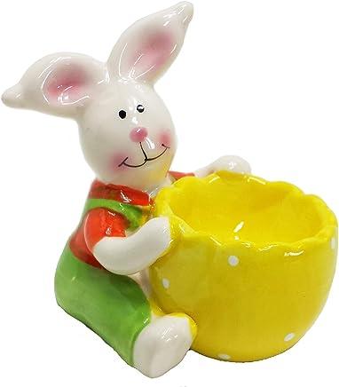 Preisvergleich für Land-Haus-Shop Eierbecher Bunt Keramik Hase Ostern Frühling Osterhase Frühstück Deko Farbig Ei