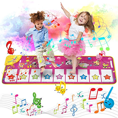 Tapis de Piano-Jouet Enfant 1-8 Ans, Jouet de Bébé éducation Précoce,Tapis musical pour bébés avec touches de piano Tapis de jeu tactile, éducatif, de danse, Anniversaire Noël enfant Cadeau