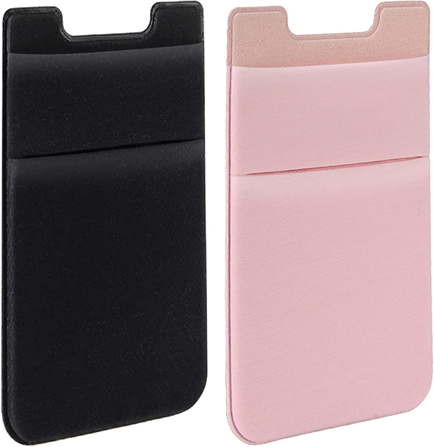 SHANSHUI Card Holder for Back of Phone, Adhesive Stretchy Fabric Lycra Double Slots Credit Card Sleeves Stick On Wallet Pocket Compatible with iPhone and Most Smartphones(Black&Pink)