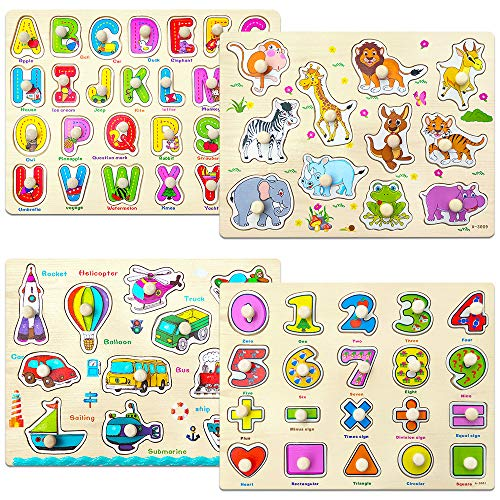 Familamb Peg Puzzle for Toddlers, Wooden Alphabet Animal Number Vehicle Puzzles for Kids, Educational Learning Preschool Puzzles Toys for Baby Infants Boys and Girls (4 Pack)