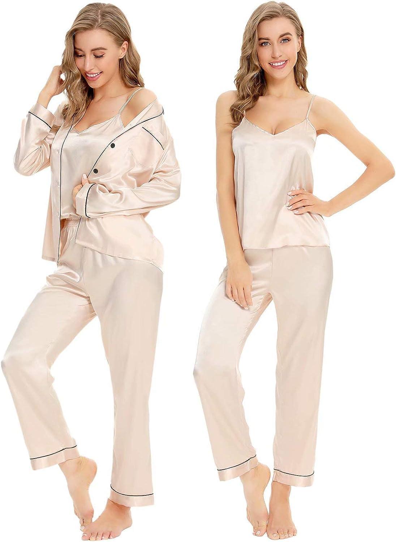 1960s – 1970s Lingerie & Nightgowns SWOMOG Womens Satin Pajamas 4pcs Pajama Set Sexy Cami Shorts Set and Button Down Long Sleeve Pjs Sleepwear Loungewear $39.99 AT vintagedancer.com