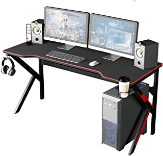 Soges Gaming Desk 63 inches Large Office PC Computer Desk Workstation w/All Covered Mouse Pad/Cup Holder Multifunction Com...