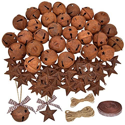 Lvydec 80pcs Rusty Metal Christmas Jingle Bells with Mini Rusted Metal Barn Stars, Sleigh Bells Rustic Craft Stars Cutouts with Jute Twine Plaid Ribbon for Christmas Tree Holiday Season Decor