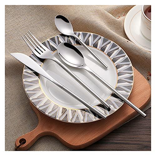 Juego de vajilla de acero inoxidable de 24 piezas estilo coreano de lujo de plata maciza, cubertería superior cuchillo, cucharadas, tenedores para alimentos (color: 1 lote de 24 piezas)