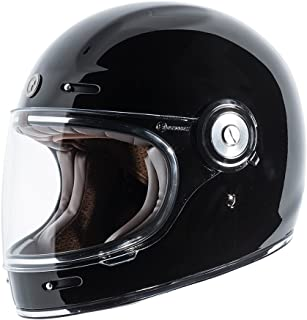 TORC Unisex-Adult T10525 Retro Fiberglass Full-Face Style Motorcycle Helmet (Gloss Black, X-Large), 1 Pack