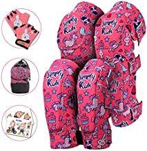 Innovative Soft Kids Knee and Elbow Pads with Bike Gloves I Toddler Protective Gear Set I Bike, Roller-Skating, Skateboard Knee Pads for Kids ((2nd Gen) Pink Unicorn, Small (2-4 Years))