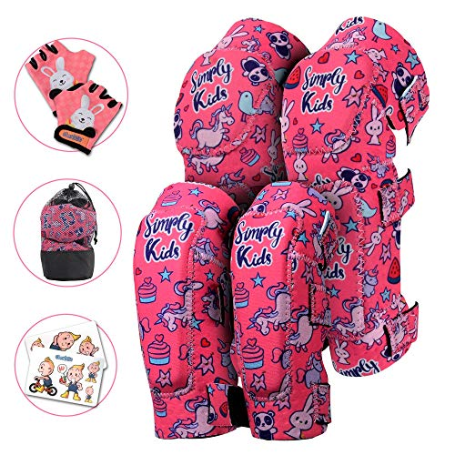 Innovative Soft Kids Knee and Elbow Pads with Bike Gloves I Toddler Protective Gear Set I Bike, Roller-Skating, Skateboard Knee Pads for Kids ((2nd Gen) Pink Unicorn, Medium (4-8 Years))