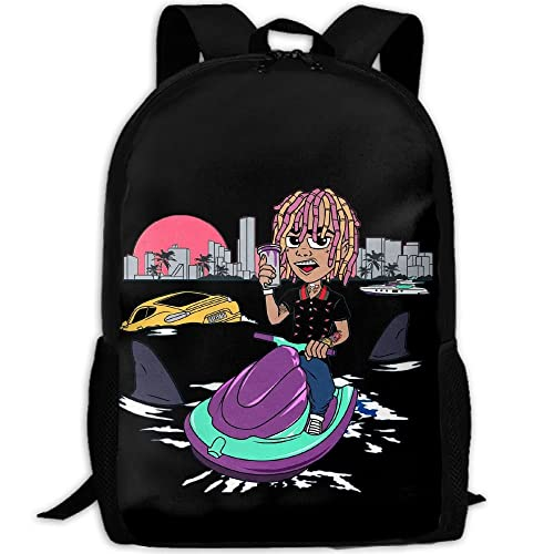 008c432beef5 KAGN Lil Pump GUCCI-GANG Logo Fashion Backpack Laptop Bags For Unisex