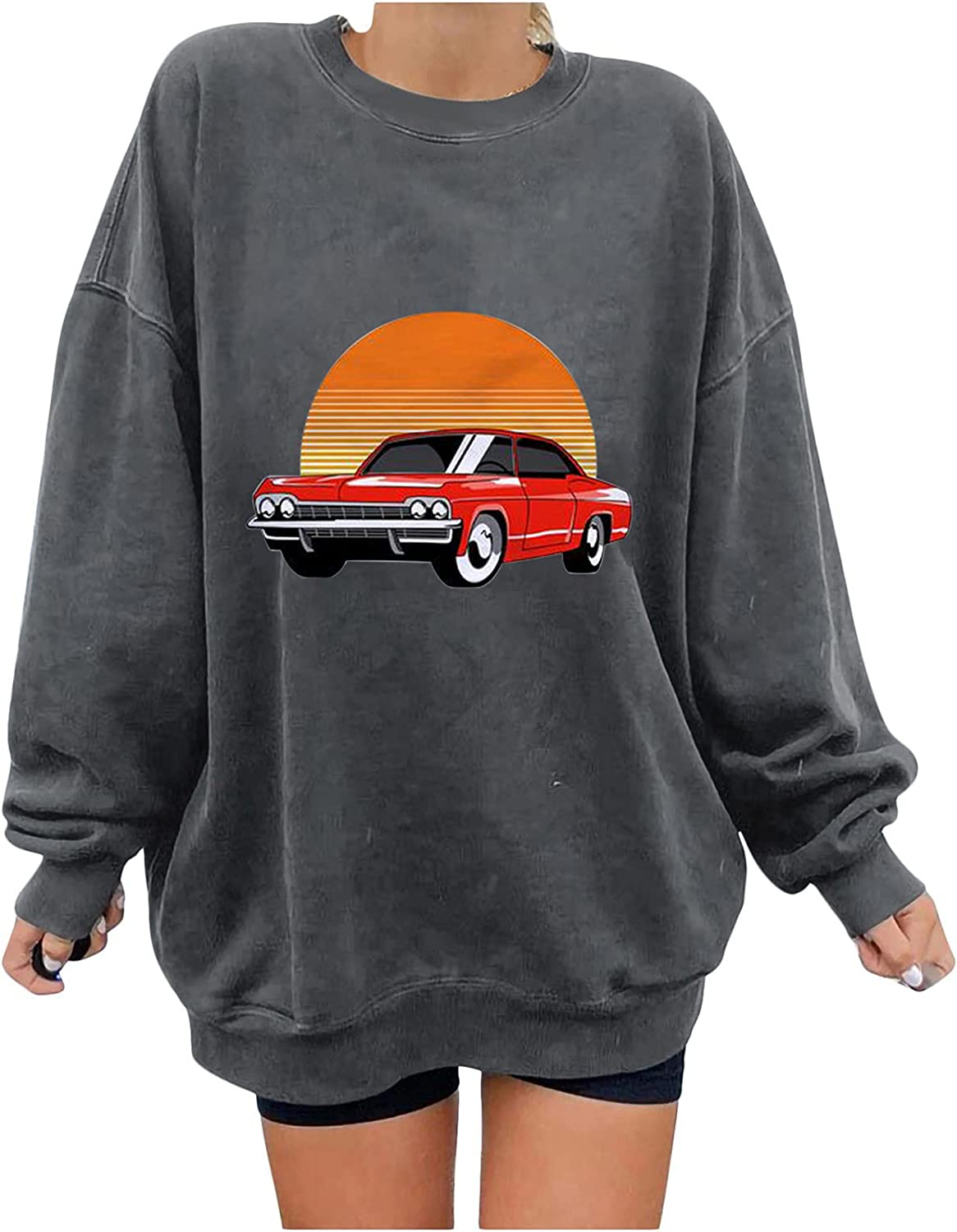 Sweatshirts for Women Oversized Car Print Crewneck Pullover Casual Comfty Long Sleeves Tee Shirts Casual Tops
