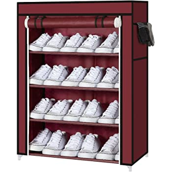 AYSIS Multipurpose Storage Organizer, 4 Shalves Portable foldable with Nonwoven Fabric Cover Shoe Cabinet for Closet (Maroon)