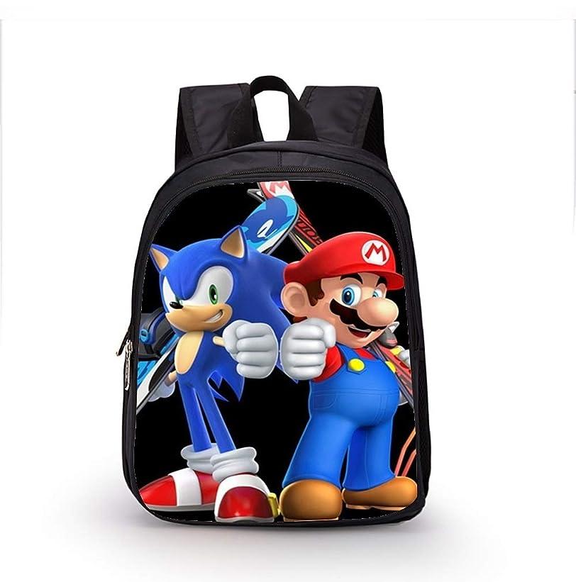 機械確認する符号BJRHFN 12インチソニック漫画のバックパック子供の学校のバッグの男の子と幼稚園のバックパック子供の学校のバッグの幼児における女の子、旅行、アウトドア (Color : 16)