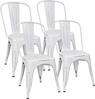 Flamaker Metal Dining Chairs Stackable Kitchen Dining Chairs Metal Chairs Bistro Cafe Side Chairs Height Restaurant Chairs Tolix Side Bar Chairs, Set of 4 (Distressed White)