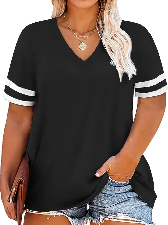 ROSRISS Womens Plus-Size Tops Summer Short Sleeve T Shirts Casual Tunics XL-4XL