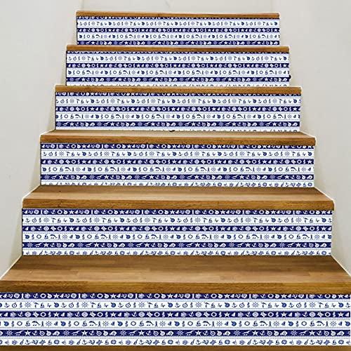 MVNZXL Pegatinas de Escalera, 6 Piezas de calcomanías de Escalera de Azulejos de Estilo árabe, Pegatina de Escalera autoadhesiva extraíble, Papel Tapiz Mural de Vinilo 18X100cm(Color:C)