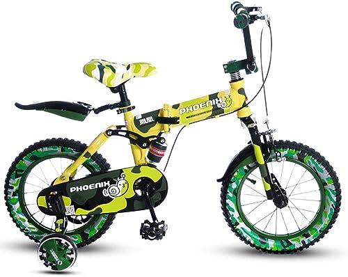 QARYYQ Kinder Faltrad 14 16 Zoll Junge fürrad 3-4-5 Jahre altes mädchen Baby Kind Mountainbike Gelb Kinderfürrad (Größe   14 inches)