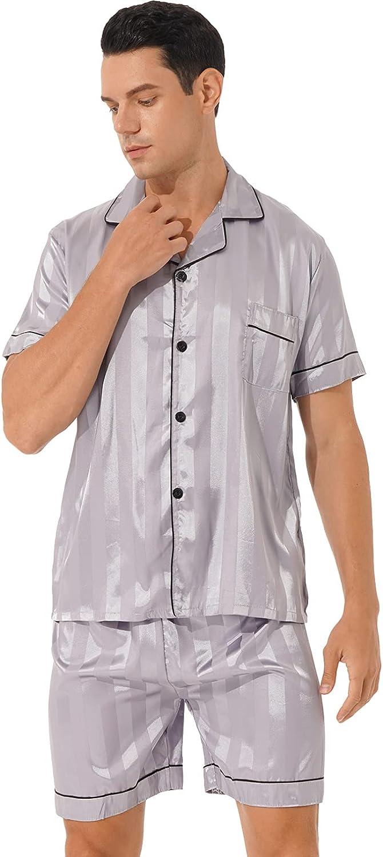 MSemis Men's Stripe/Cow Print Button-Down Short Sleeve Satin Pajama Set with Shorts Loungewear