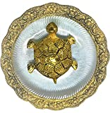 OMI Metal Kachua Feng Shui Golden Tortoise/Turtle on Glass Plate with Golden Floral Border with Diameter:5.5 Inch