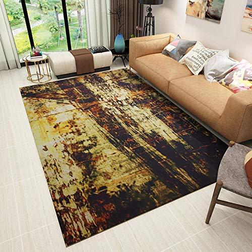 Alfombra Pelo Corto Moderna Interior al Aire Libre Lavable Antideslizante Graffiti de Tinta marrón Amarillo 150*200CM(4'9''x6'6'')
