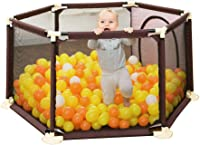 CXHMYC Playpen Kindersicherheitspark Robust Pedestal Schutzzentrum Kinderschutzzentrum Room decoration Barriere Crawl Room cleaning Interior doors for babies (hexagon brown)