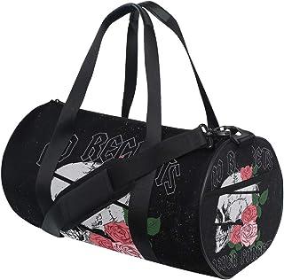 BKEOY Sport-Turnbeutel mit Rosen- und Totenkopf-Motiv, wasserdicht, Segeltuch, Handtasche, Schultertasche, Reisetasche, für Erwachsene, Herren, Damen, Jungen, Mädchen, Unisex