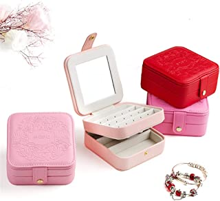 Home Décor Jewelry Box Portable Mini Cute Travel Simple Jewelry Storage Box (Color : Red)