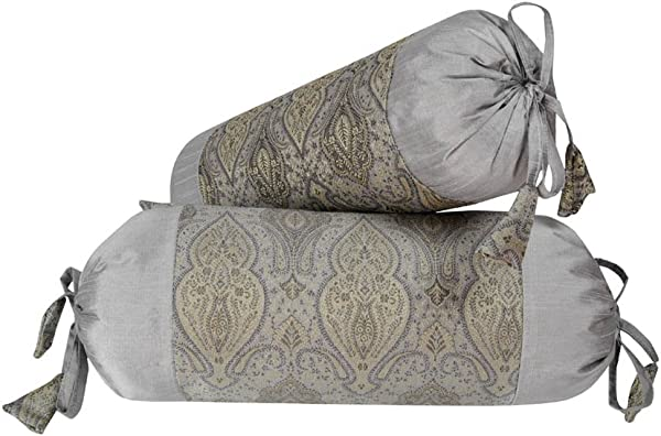 Lalhaveli Room Decor Silk Round Bolster Pillow Cushion Covers 18 X 8 Inch Set Of 2 Pcs