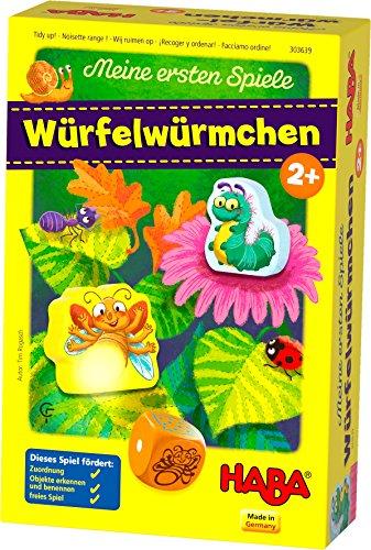 HABA 303639 - Meine ersten Spiele – Würfelwürmchen | Liebevoll gestaltetes Würfelspiel für 1-3 Spieler ab 2 Jahren
