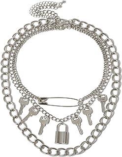 قلادة معدنية قوطية بقفل كبير قلادة على شكل مفتاح البانك كول هيب هوب نمط متعدد الطبقات قلادة مجوهرات للرجال والنساء هدية