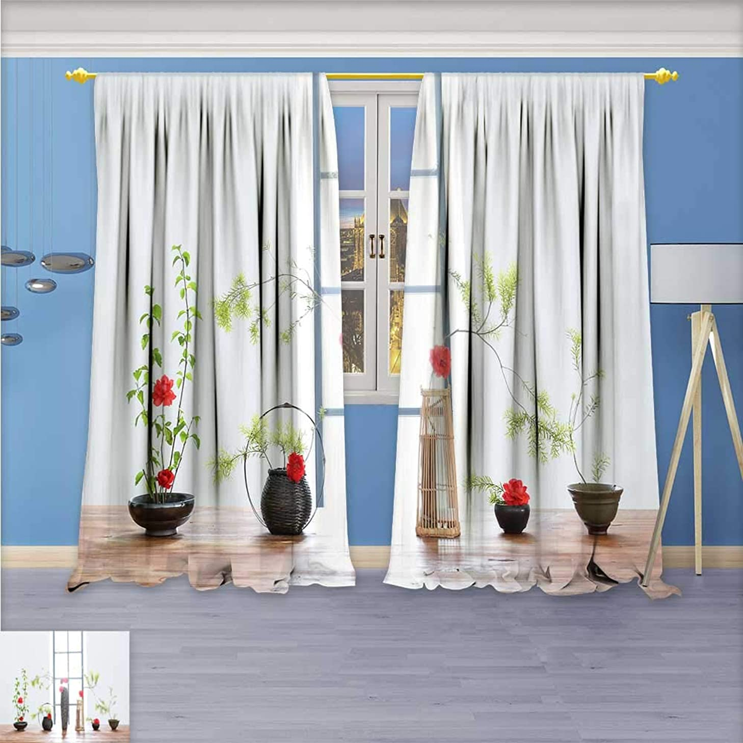 Print Woven Sateen Window Curtain,Set of Flower Arrangement Panel Pair with Grommet Top, 72W x 96L Inch