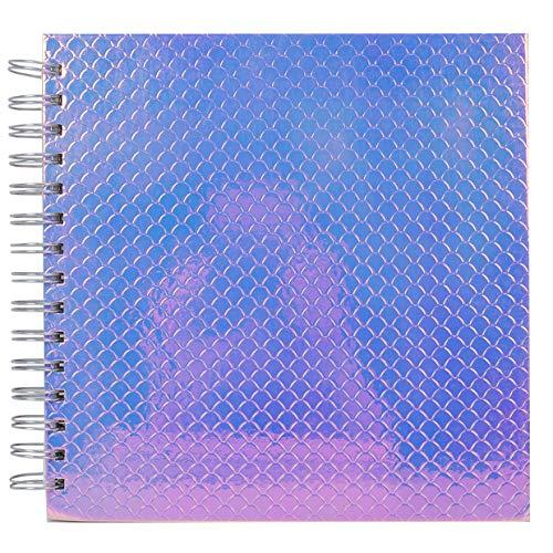 Eenvoudig creatief roze holografische schalen-Spiral Bound-Perfect voor Scrapbooking, Journaling, fotoalbums, Memory Books, gastenboeken-40 witte pagina's-240 GSM, 8 x8