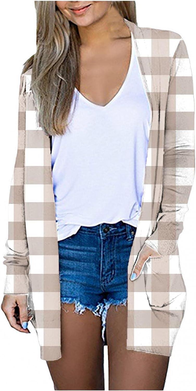 FABIURT Cardigan for Women, Womens Casual Open Front Cardigan Winter Fall Long Sleeve Coat Outwear with Pockets