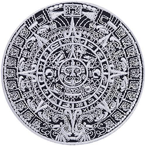 Maya - Parche con calendario azteca, parche para motero, imagen de Perú, pegatina de metal de América del Sur, aplicación DIY para chaqueta/suitcase/botas/maletín de moto, 90 x 90 mm