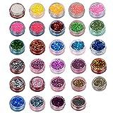 Kaimeilai Paillettes olografiche a 29 Colori, Glitter per Unghie Fiocchi iridescenti Colorati, Set Glitter in Polvere Glitter per Decorazioni per Festival, ombretti e Nail Design Fai-da-Te