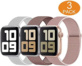 OHCBOOGIE Sport Loop Band Compatible with Apple Watch Band 38mm /40mm /42mm /44mm, Soft Lightweight Breathable Adjustment Sport Wrist Strap Compatible with IWatch Series5/4/3/2/1,3pack
