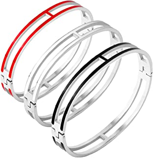 Women's Fashion Classic Lovely Brilliance Bracelet - Titanium Steel Red and Green Bracelets 6.7 Inch