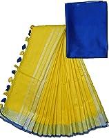mj silks Women's Linen Slub Bhagalpuri Saree with Contrast Blouse Piece (Yellow)