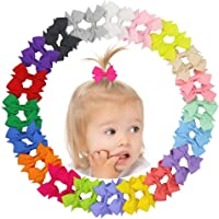 Happeks 20 Piece Multi-colored Girls Ribbon Bow Hair Clips