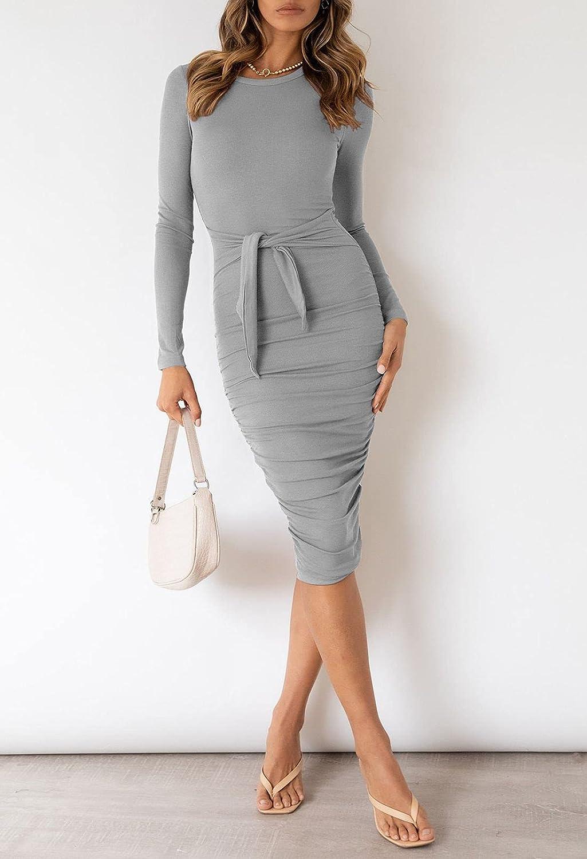 Buy Linsery Women Long Sleeve Tie Waist Bodycon Ribbed Knit Midi ...