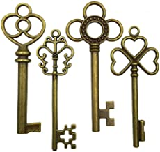 Mmei 40 pcs Large Antique Bronze Steampunk Vintage Skeleton Keys for DIY Wedding Party Gifts Jewelry Necklace Pendants Decoration (4 Different Style x 10)