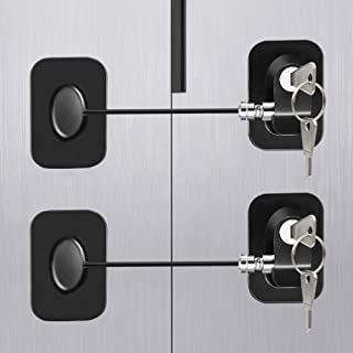Fridge Lock Refrigerator Lock, Topwey 2 Pack Cabinet Locks Child Safety Latches with Strong Adhesives and Keys, Punch-Free...