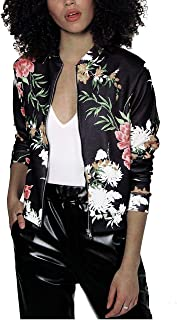 Mojessy Women's Floral Print Classic Baseball Fall Short Biker Bomber Jacket Coat