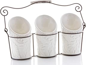Kitchen Utensil Holders (4 Pieces) - 3 Ceramic Utensil Crocks (4