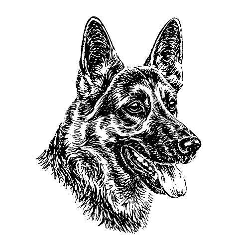 Schecker-Autoaufkleber Hundeaufkleber ideal für helle Autos Dt. Schäferhund, Front