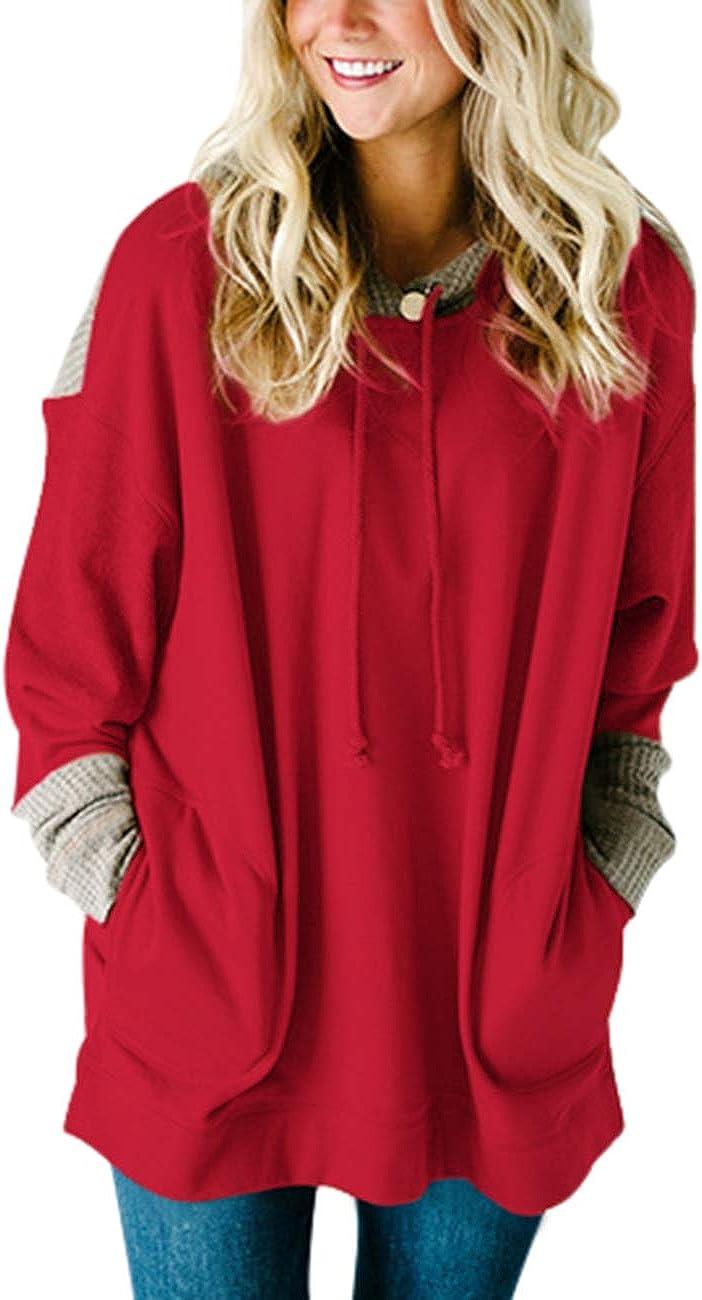 SEBOWEL Women's Waffle Knit Splice Max 83% OFF Popular Strappy Sleeve Long S Hoodies