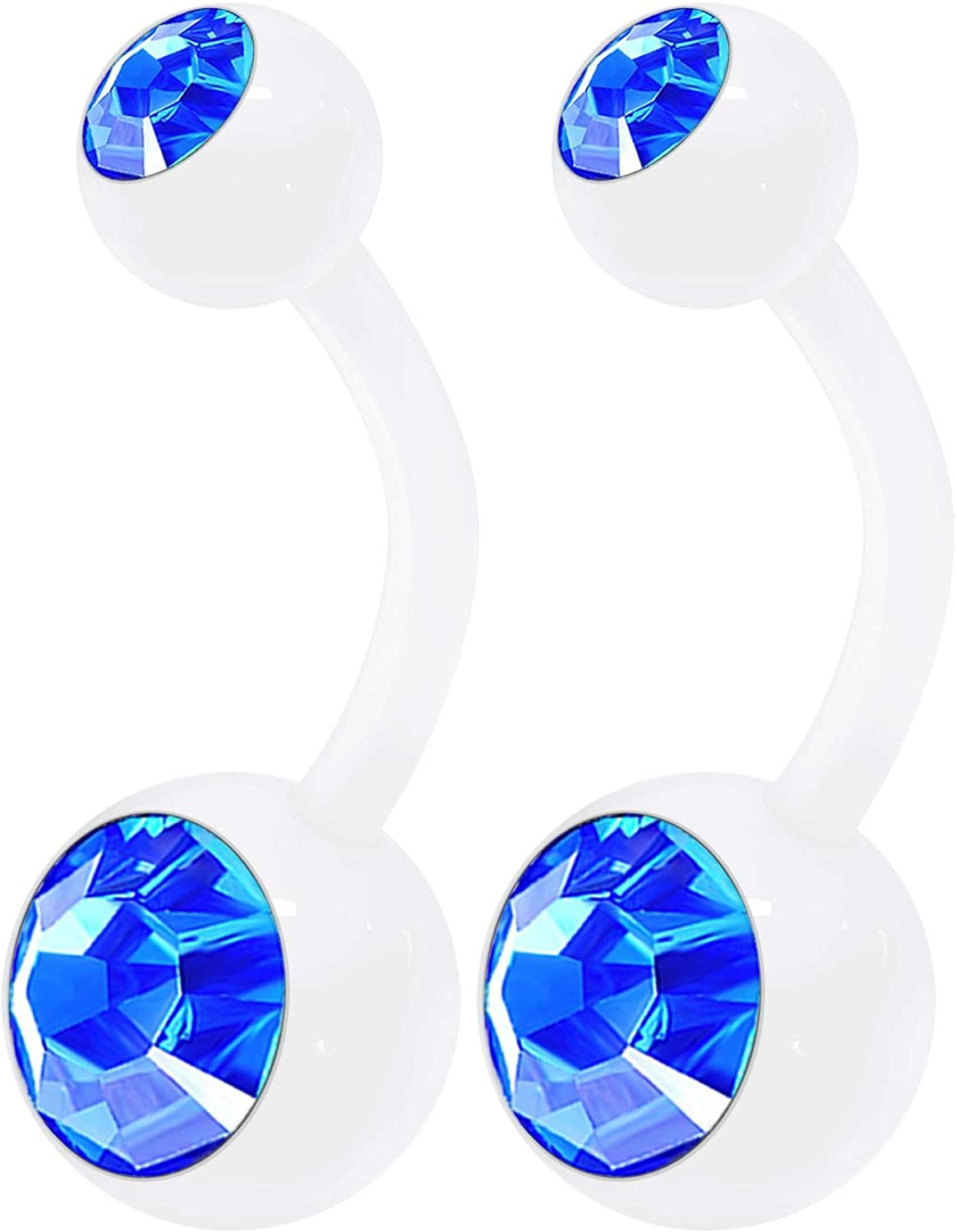 2PCS Clear Acrylic Cute Belly Navel Bar Ring Stud 14 Gauge 3/8 10mm Crystal Ball Earrings Piercing Jewelry Choose Colors
