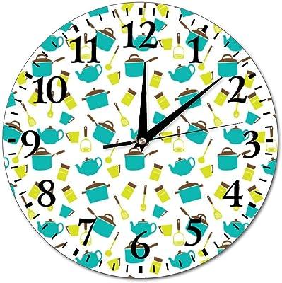 Mesllings Reloj de Pared de Cristal Redondo con diseño de Cocina ...