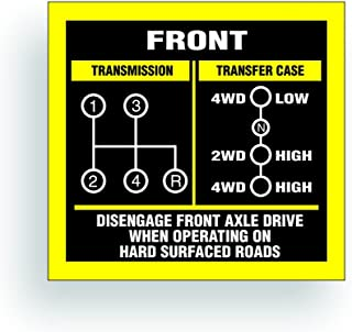 Solar Graphics USA Transmission Shift Pattern Decal - Compatible with Jeep, Willys Or CJ May Fit Transmission and Transfer Case Models TC, 4 Speed, Single Stick - 3x2.75 inch