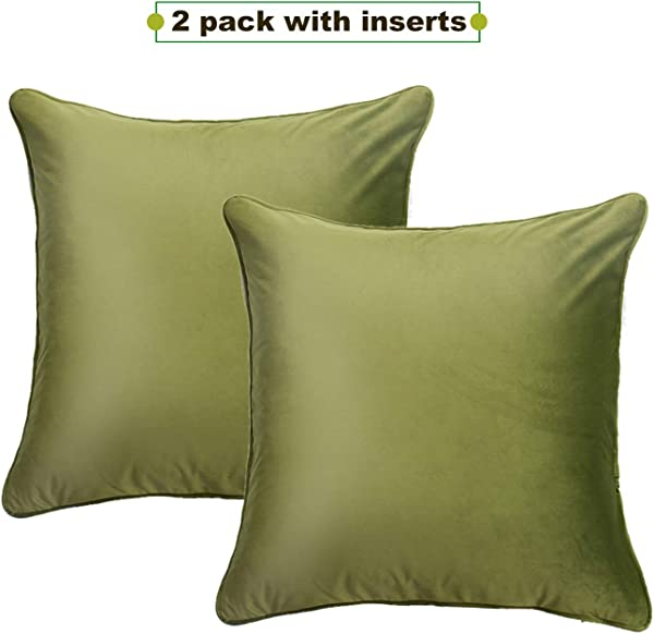 Asoma Pack Of 2 Velvet Decorative Square Throw Pillow Set Cushion With Inserts For Sofa Bedroom Car 18 X 18 Inch 45 X 45 Cm Grass Green